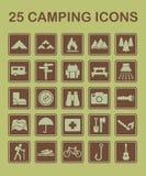 25 het kamperen Pictogrammen royalty-vrije stock fotografie