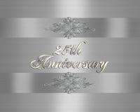 25. Hochzeits-Jahrestagseinladung Silber   Stockfotografie
