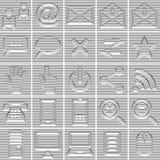 25 isolerade inställda internet- och kommunikationssymboler Arkivfoto