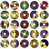 25 moldes CD ou de DVD do vetor da etiqueta Fotografia de Stock Royalty Free