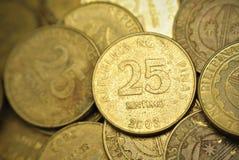 25 monete del Philippine del centavo Fotografia Stock Libera da Diritti