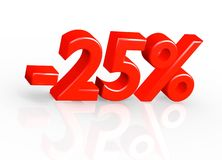 25  Percent. The three-dimensional  text 25 Percent, red Royalty Free Stock Photography