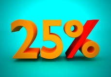 25 percent. Discount of 25 percent for a green background Royalty Free Stock Image