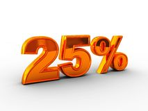 25 percent. 3d illustration of 25 percent text over white background Stock Photo