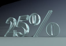 25_percent. 3D graphics. 25 twentyfive percent caption, made of glass or plexi Royalty Free Stock Photos