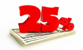 25 Percent. On a white backgroun Royalty Free Stock Photography