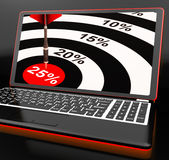 25 Percent On Laptop Shows Promotional Prices. And Sales Stock Photos