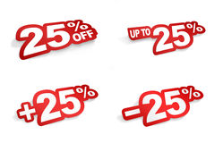 25 percent promotion. Bend the word 25 percent like a sticker Stock Photo