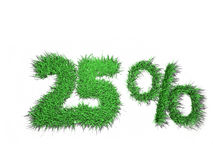 25 percent sign. Made of green grass Stock Photo