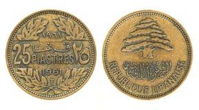 25 piastres ou piasters - argent du Liban Image stock