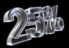 25 por cento no vidro (3D) Imagens de Stock