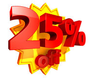 25-Prozent-Preis weg vom Rabatt Stockbilder