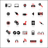 25 red-black icons set. Vector icons set for computer theme, all computer devices Royalty Free Illustration