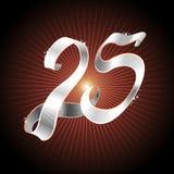 25 ribbon silver Arkivfoto