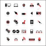 25 rood-zwarte geplaatste pictogrammen Stock Fotografie