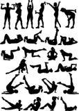 25 silhouetten van geschiktheidsmeisje Stock Fotografie