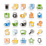 25 Simple Realistic Detailed Internet Icons. Vector Icon Set Royalty Free Stock Images