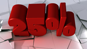 25%. Special Offer. 3d design. 3d red text 25% and broken ground Royalty Free Stock Photography