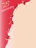 25 th anniversary. 25th anniversary background with red roses Royalty Free Stock Image