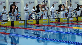25. Universiade Belgrad 2009 - Schwimmen Stockfotografie