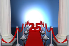 25 year anniversary. With red carpet and columns Royalty Free Stock Images