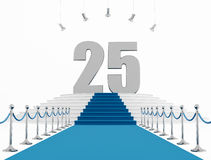 25 year anniversary. With blue carpet isolated on white-rendering Stock Photography