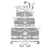 25 years cake celebration. 25 years silver cake celebration Stock Photography
