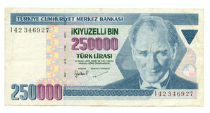 250000 lire bill of Turkey Royalty Free Stock Photography