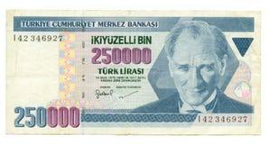 250000 Lire Rechnung von der Türkei Lizenzfreie Stockfotografie