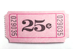 25c ticket. A 25c ticket shot on a white background Royalty Free Stock Photo