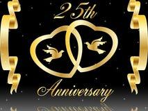 25ste huwelijksverjaardag Royalty-vrije Stock Afbeeldingen