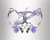 25ste verjaardags zilveren harten Stock Foto