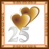 25ta tarjeta del aniversario. Fotos de archivo