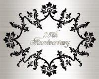 25th årsdagkortinbjudan Royaltyfri Fotografi