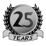 25th эмблема годовщины Стоковое Изображение RF