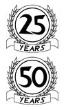 25th and 50th anniversary icons Stock Images