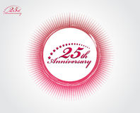 25th anniversary. With halftone backgroud, vector illustration Stock Images