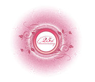 25th anniversary. With floral halftone backgroud, vector illustration Royalty Free Stock Photo