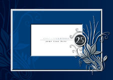 25th anniversary. Editable illustration of a blue and silver congratulations card for 25th anniversary, jubilee, wedding or birthady Stock Photos