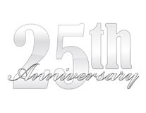 25th Anniversary. 25th year anniversary silver isolated over a white background. vector file also available Stock Photos