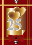 25th anniversary card. Hearts, red bow and silver number 25 Royalty Free Stock Images