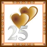 25th anniversary card. Two gold hearts and silver numbers 25 Stock Photos