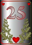 25th anniversary card. Number 25, red hearts and oak leaves Stock Image