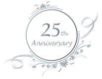 25th anniversary design. Floral design for a 25th or silver anniversary of a marriage or business.vector available Stock Photos
