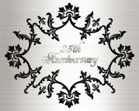 25th anniversary invitation card. Illustration, black ornamental design on white satin-like background with 3D silver  text for 50th wedding anniversary party Royalty Free Stock Photography