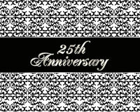 25th anniversary invitation card. Illustration, black and white background with 3D gold text for 25th wedding anniversary party invitation or greeting card Royalty Free Stock Images