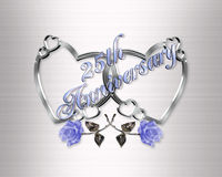 25th anniversary silver hearts Stock Photo
