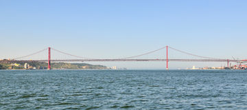 25th of April Bridge. 25th April Bridge from Tagus River in Lisbon (Portugal Royalty Free Stock Photos