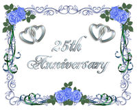 25th bröllop för årsdagkantinbjudan royaltyfri illustrationer
