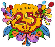 25th lyckliga designelement royaltyfri illustrationer